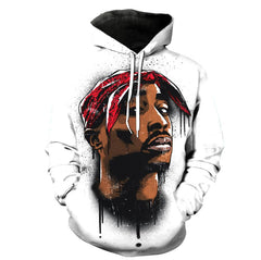 Limited Edition Tupac White Hoodie 3D Printed