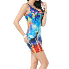 Colorful Rain Sleeveless Dress