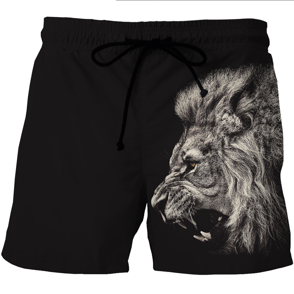 Black and White Lion Board Shorts