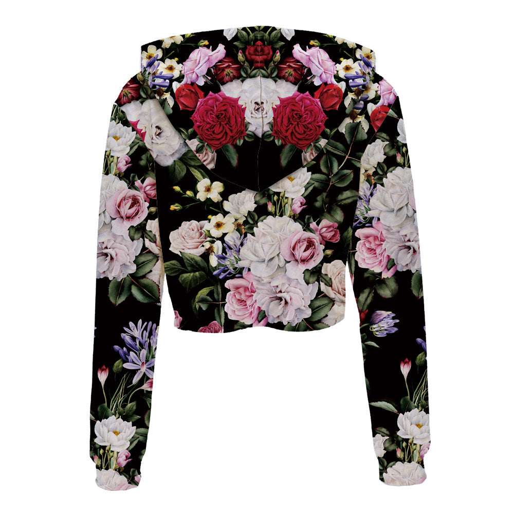 Midnight Blossoms Cropped Hoodie 3D Printed
