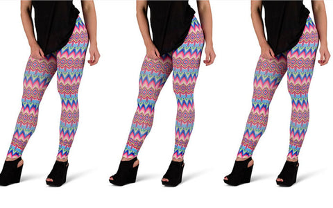 Pink and Blue Aztec Leggings