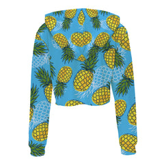 Blue Pineapple Cropped Hoodie 3D Printed