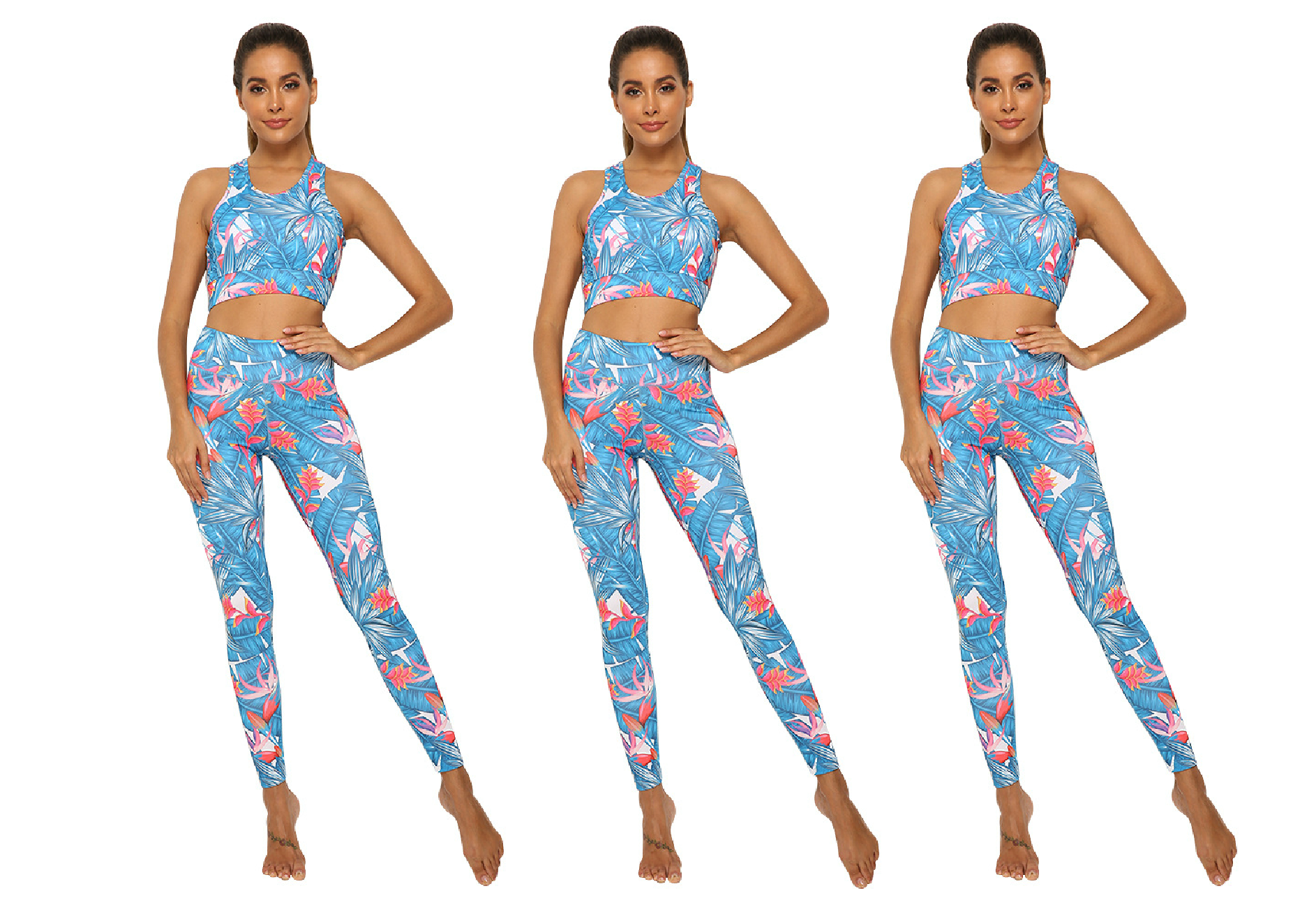 Blue Tropics Sports Bra and Leggings Set