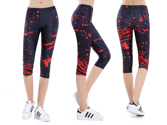 Red Paint Splatter Capri