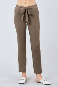 Front Ribbon Tied Pegged Long Pants