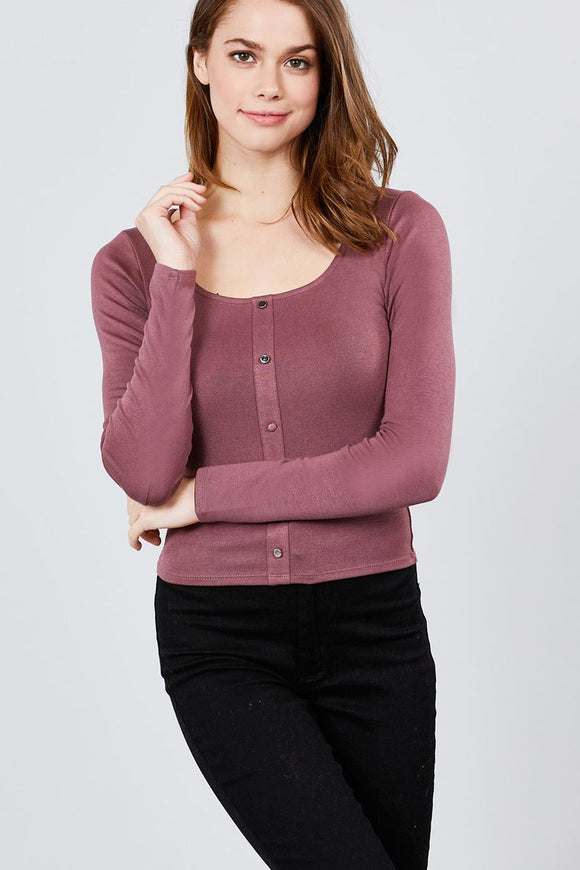 Long Sleeve Scoop Neck Front Button Detail Rib Knit Top