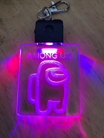 Among us laser engraved light up keychain