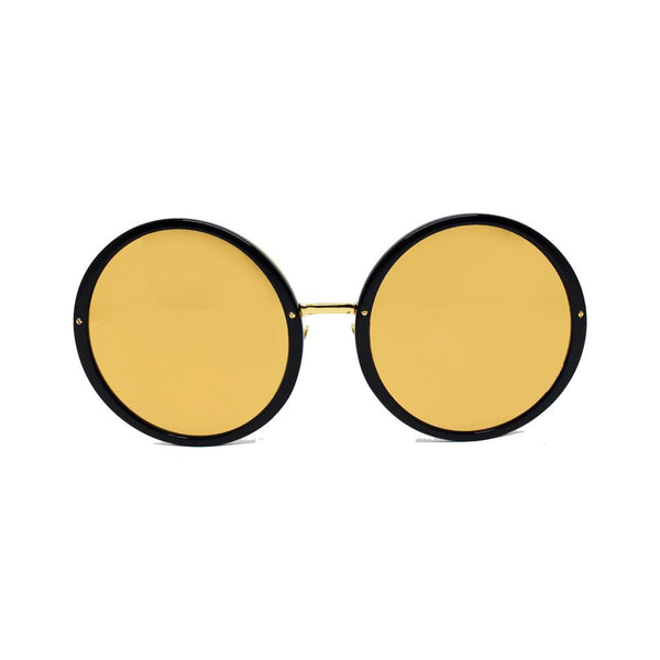 Linda Farrow 457 Round Sunglasses In Black & Gold - Optic Butler  - 1