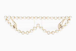 Gucci Cat Eye Metal Glasses with Pearls