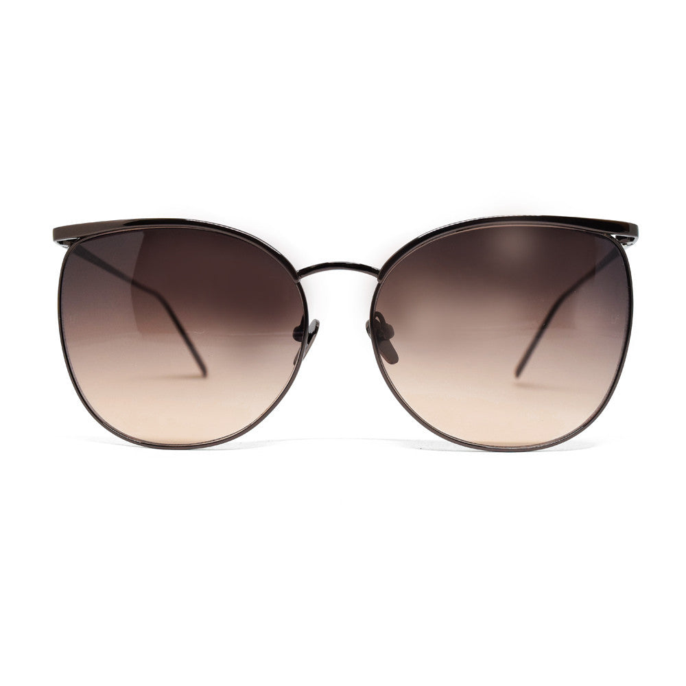 Linda Farrow 509 Browline Sunglasses In Nickel - Optic Butler  - 1