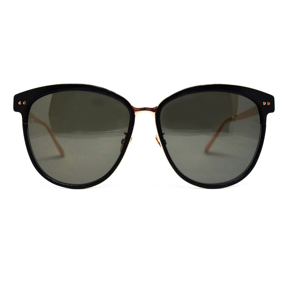 Linda Farrow 547 Oversized Sunglasses In Black & Rose Gold - Optic Butler  - 1