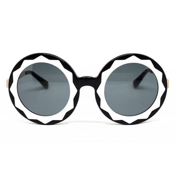 Linda Farrow Markus Lupfer Round Sunglasses In Black & Gold - Optic Butler  - 1