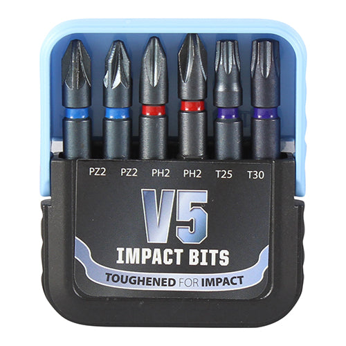 Mixed V5 Impact Driver Bit Set 6pc