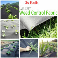 3 ROLLS OF 8M x 1.5M WEED CONTROL FABRIC LANDSCAPE GROUND COVER MEMBRANE GARDEN
