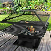 Square Fire Pit BBQ Grill Heater Outdoor Garden Firepit Brazier ideal For Patios