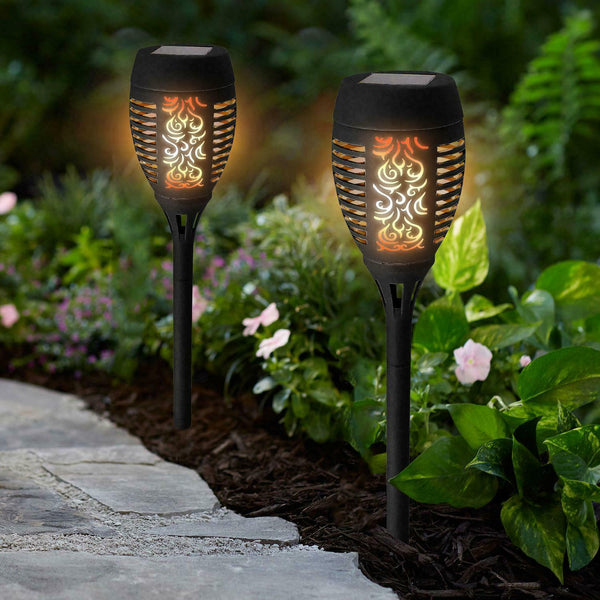 4 PACK 36 LED BLACK FLAME SOLAR TORCH LIGHT FLICKERING DANCING PATH GARDEN LAMP