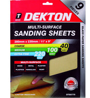 Dekton Packs of Sanding Sheet Sandpaper 40, 100, 220 Grit Or Assorted Pack
