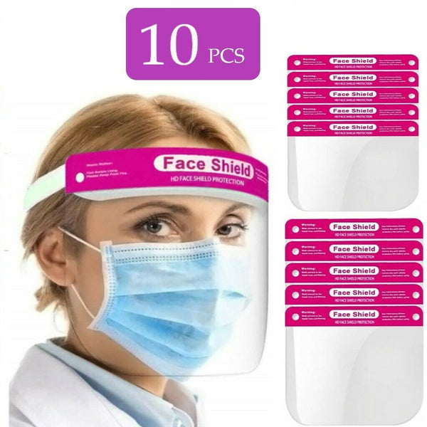 10 x Full Face Shield Pink Visor Protection Mask Shield Safety Clear PPE