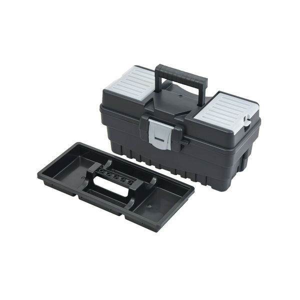 Large Plastic Black Toolbox Chest Professional Lid Storage Compartment Tools