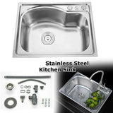 Single Bowl Stainless Steel Kitchen Sink Laundry Under/ Top Mount Sink W/ Waste