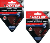 Dekton Detail Palm Sanding Pads Triangle Sheets 40 60 80 120 Or Mixed Grit 93mm