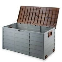 Outdoor Plastic Storage Chest Lockable Lid Quick Assembly Ideal For Garden Use