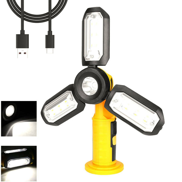 LED Work Light COB Home Outdoor Inspection Lamp Magnetic Torch USB Rechargeable