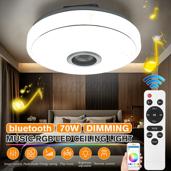 UK Smart Dimmable LED Music Ceiling Light bluetooth Speaker RGB Stars w/ Remote