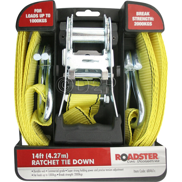 14FT LONG RATCHET TIE DOWN LOAD SECURING STRAP RATCHETING CARGO SET