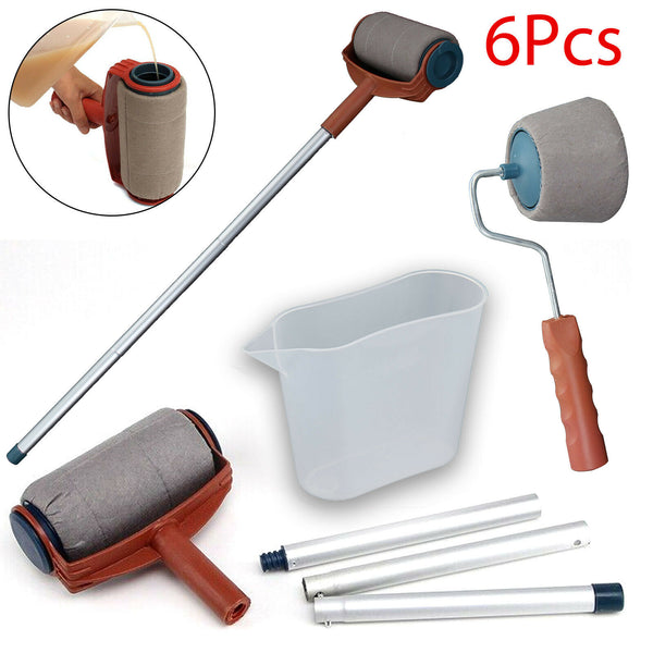 6PCS Paint Roller Brush Set Wall Painting Edger Handle DIY Tool Kit UK