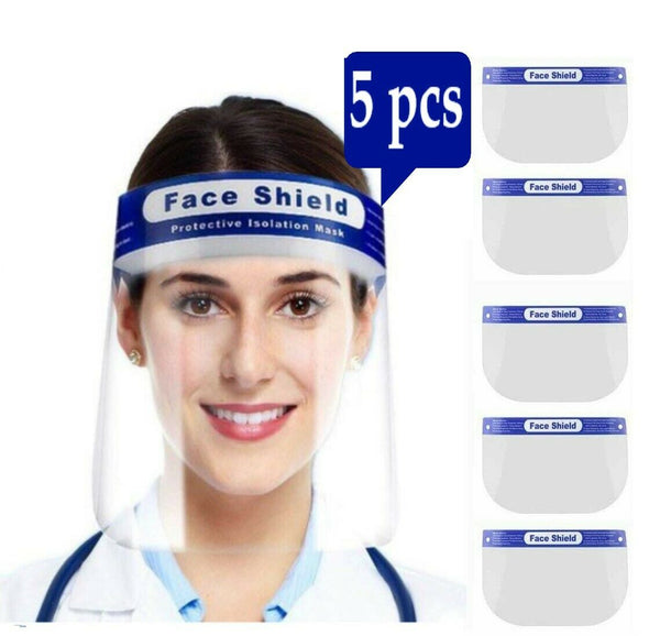 5 PCS Full Face Shield Anti-Fog Visor Reusable Plastic Safety Mask Visor
