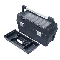 Large Plastic Black Toolbox Chest Professional Lockable Lid Storage Compartment