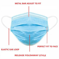 100 x Disposable Face Mask 3 PLY Disposable Face Mask