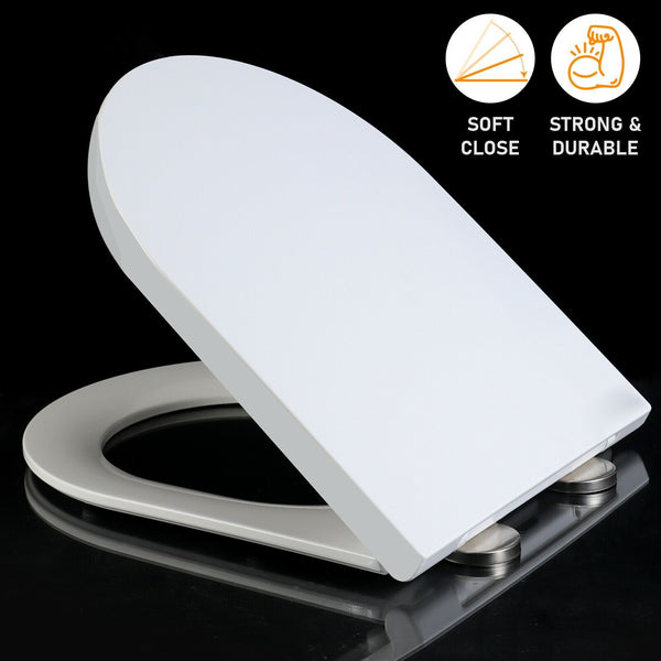 Luxury White Slow Soft Close Toilet Seat D Shaped Top Fixing Hinges Heavy Duty