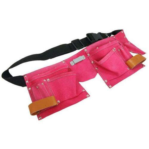 Fancy Dress Pink 11 Pocket Leather Tool Belt Builders Adjustable Hammer Loop TZ