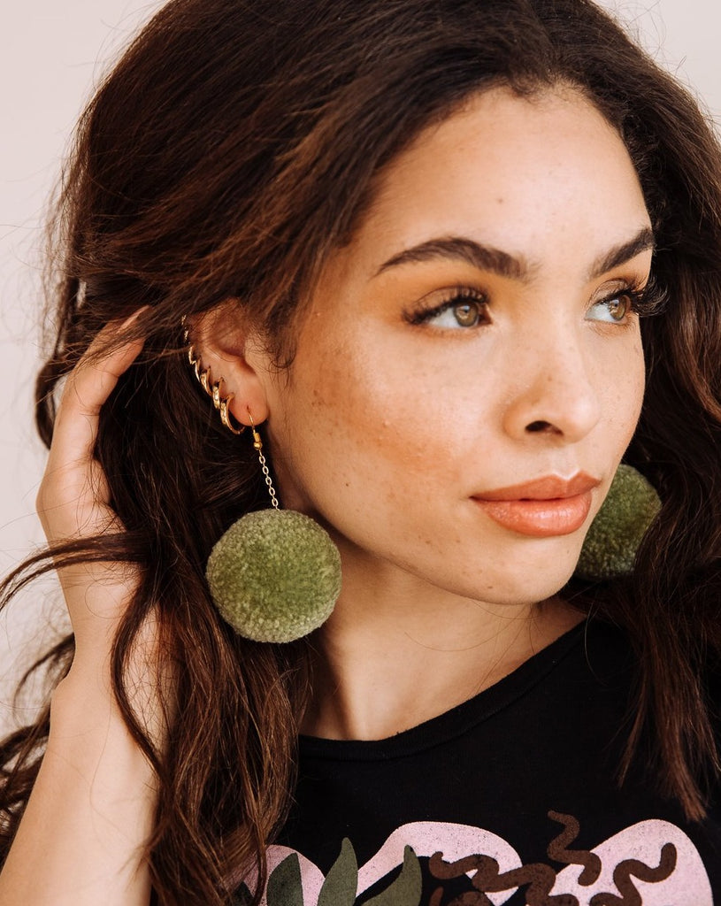 SAGE POM EARRINGS