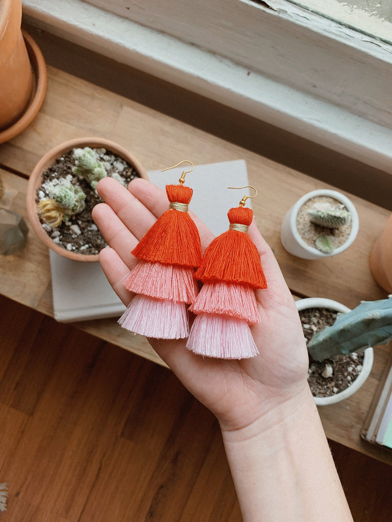 TRIPLE LAYERED TASSEL EARRINGS