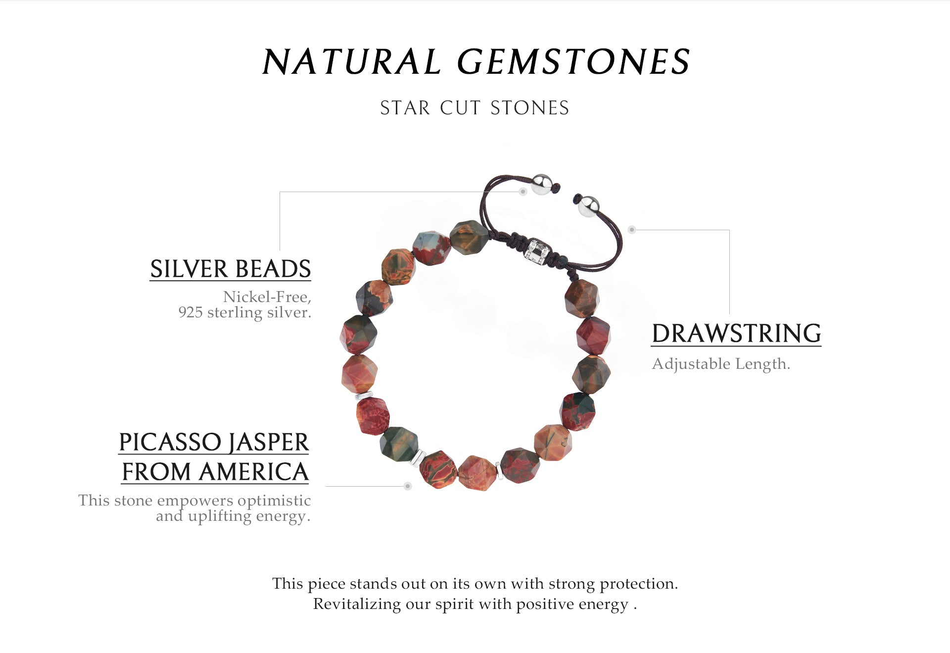 braided beaded bracelet with picasso stone, celebrating life and offering strong healing powers and protection