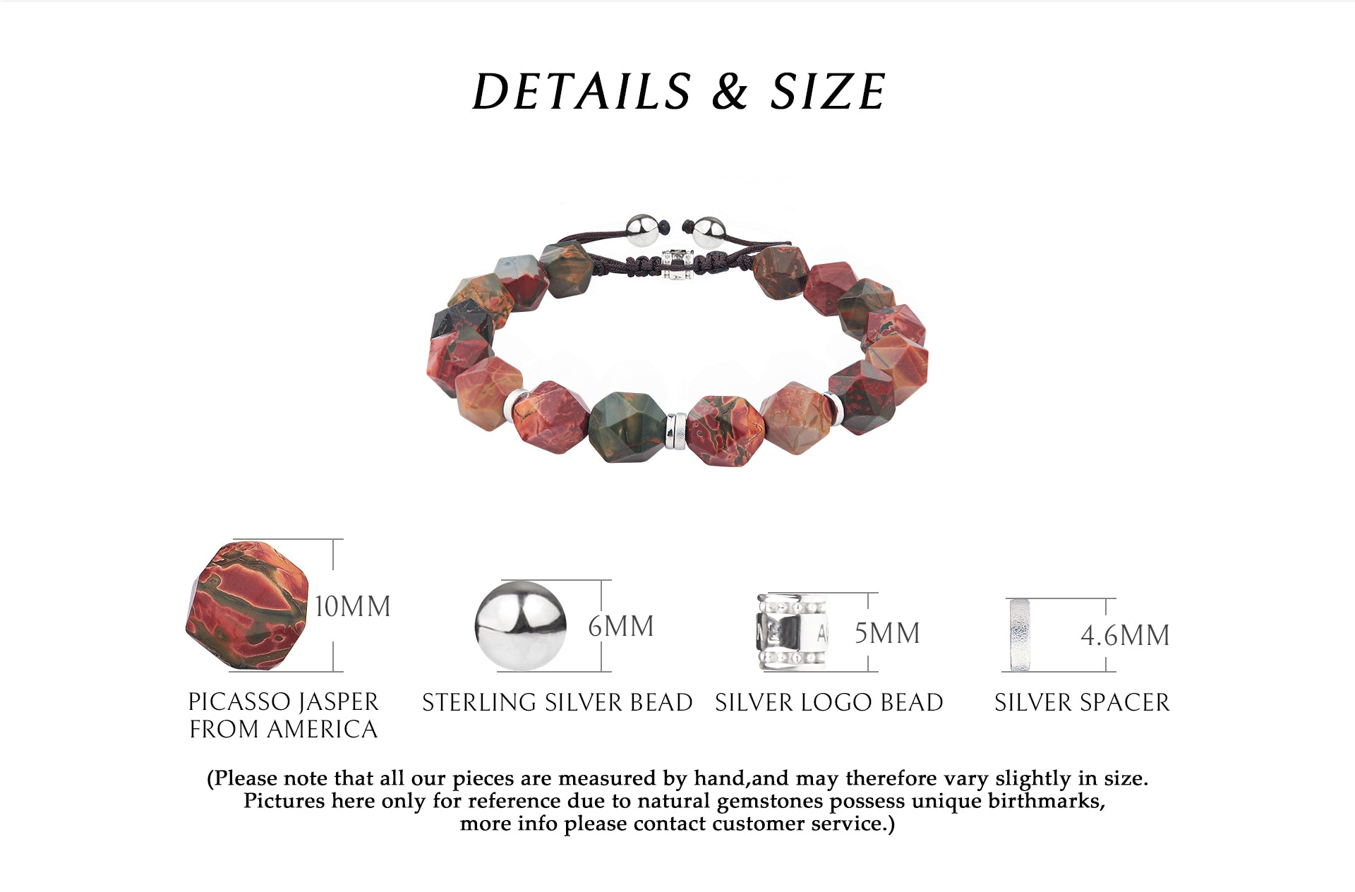 braided chakara bracelet with beaded picasso stone, offering strong proteciton and healing powers