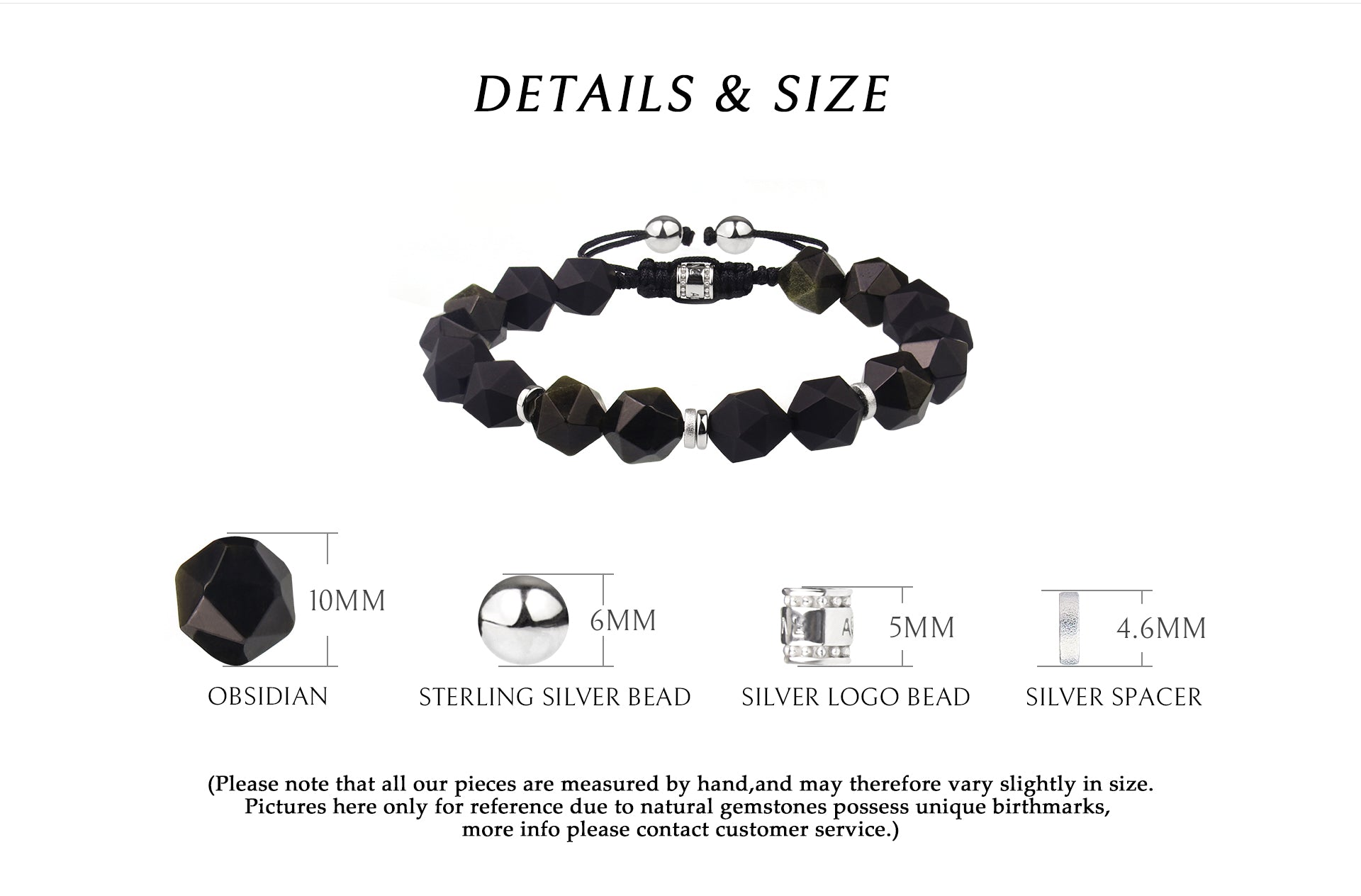 braided bracelet with beaded obsidian, providing strong purification, protection and healing energy