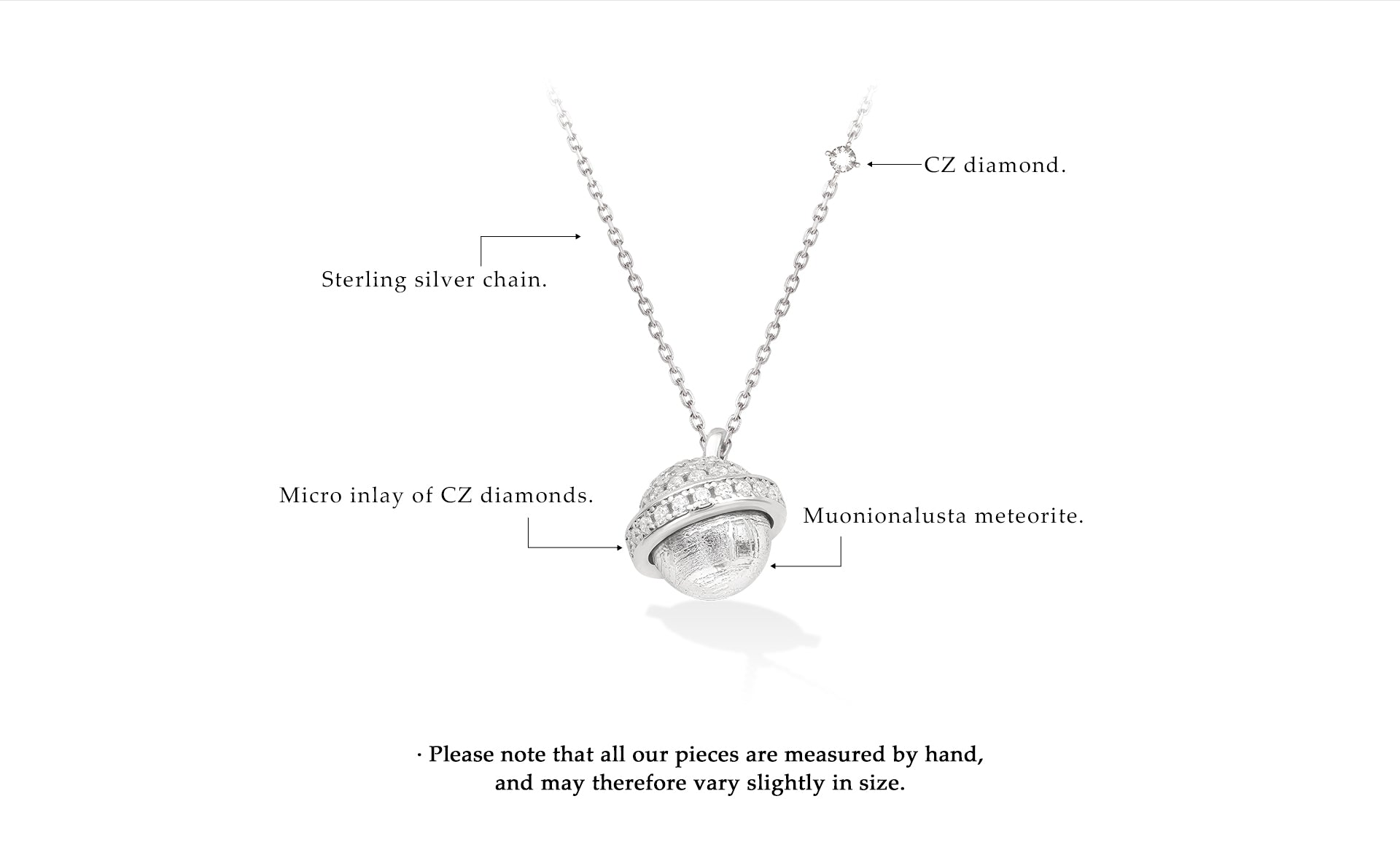 Women's White Gold Plated Silver Necklace with Swedish Meteorite and CZ Diamonds