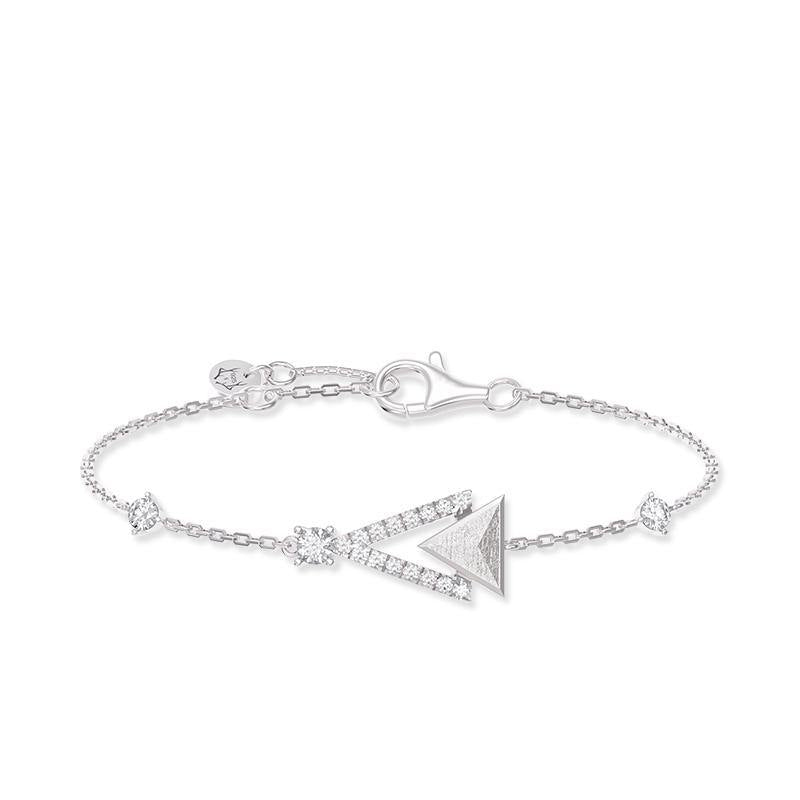 Women's White Gold Plated Sterling Silver Bracelet with Meteorite and CZ Diamonds