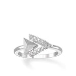 Women's White Gold Plated Sterling Silver Ring with Swedish Meteorite, CZ Diamonds
