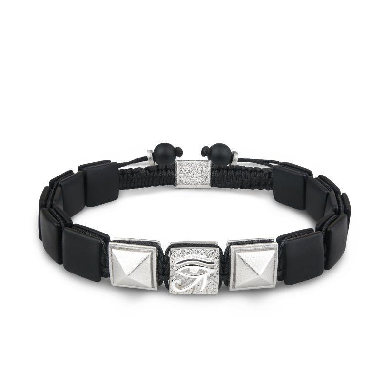 Men's Flatbead Drawstring Bracelet with Black Onyx