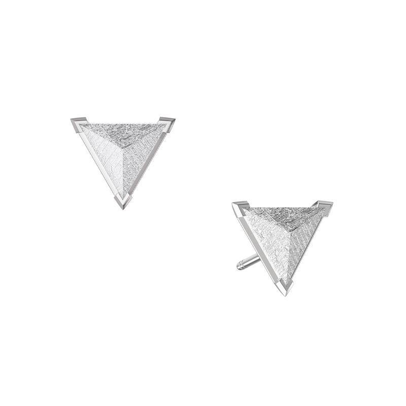 Women's White Gold Plated Sterling Silver Ear Studs with Swedish Meteorite