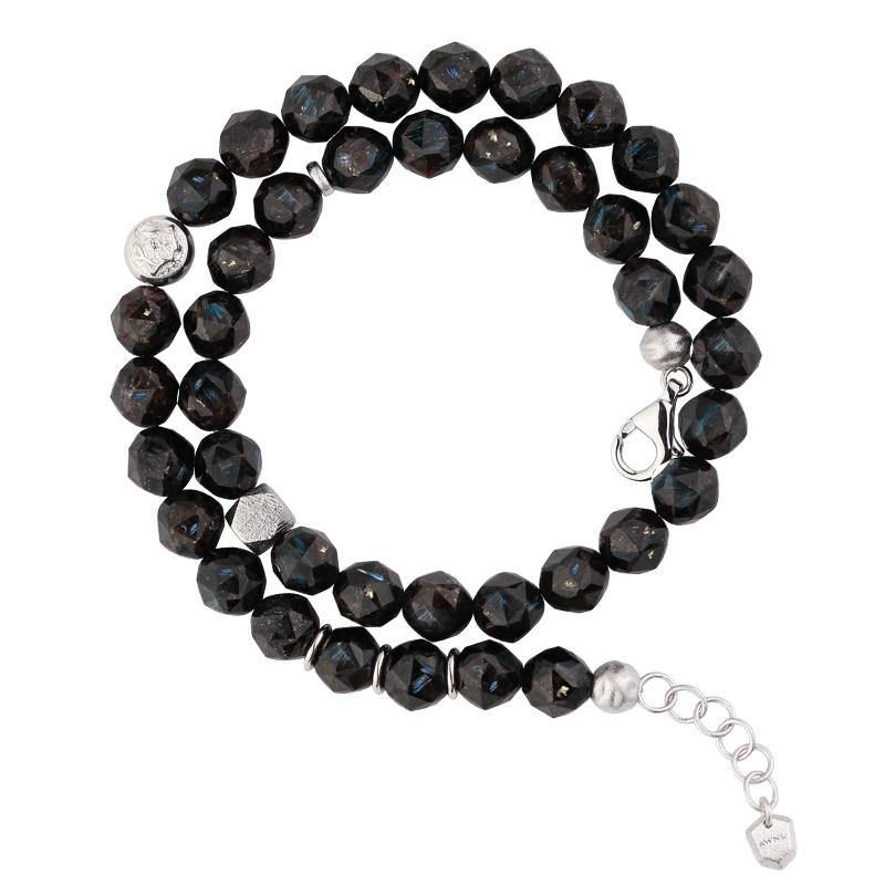 Men's Double Wrap Beaded Bracelet with Nuummite Beads and Swedish Meteorite