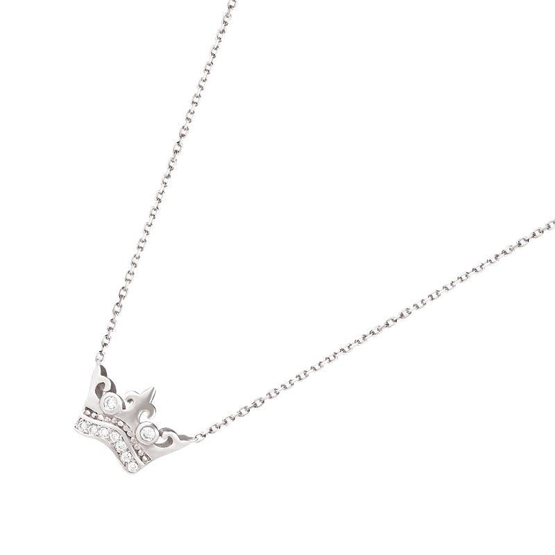 Women's Gold Plated Crown Sterling Silver Necklace with CZ Diamonds