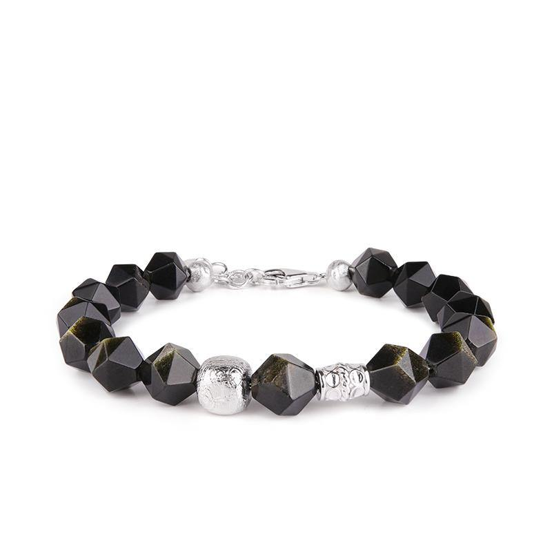 Men's Beaded Bracelet with Golden Obsidian and Meteorite