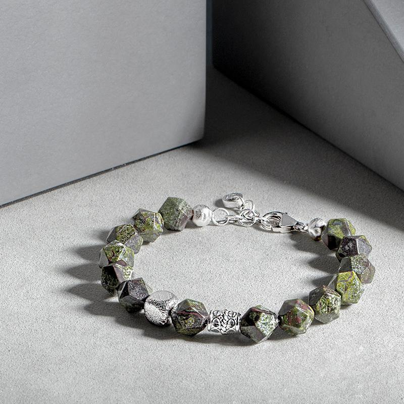 Men's Beaded Bracelet with Swedish Meteorite and Dragon's Blood Jasper