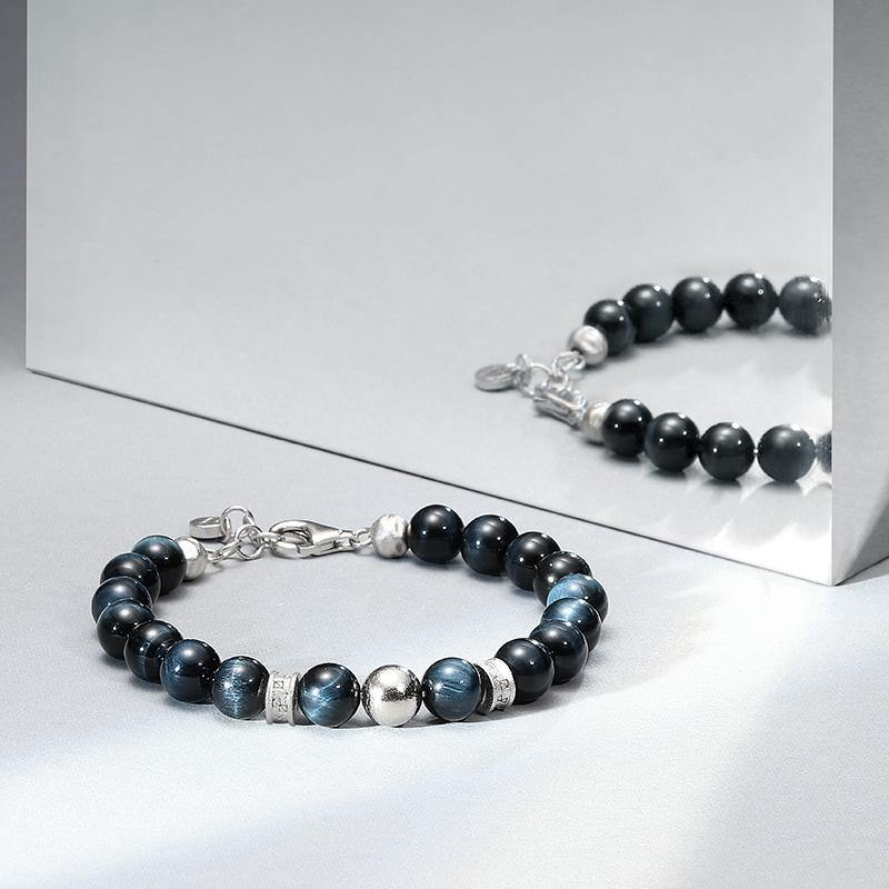 Men's Beaded Bracelet with Blue Tiger Eye, Swedish Meteorite and Engraved Rune Charms